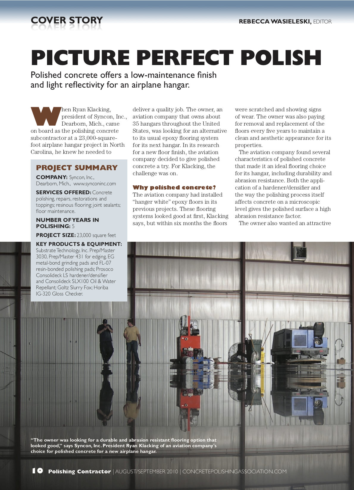 Syncon Featured in Polishing Contractor Magazine Premier Addition2