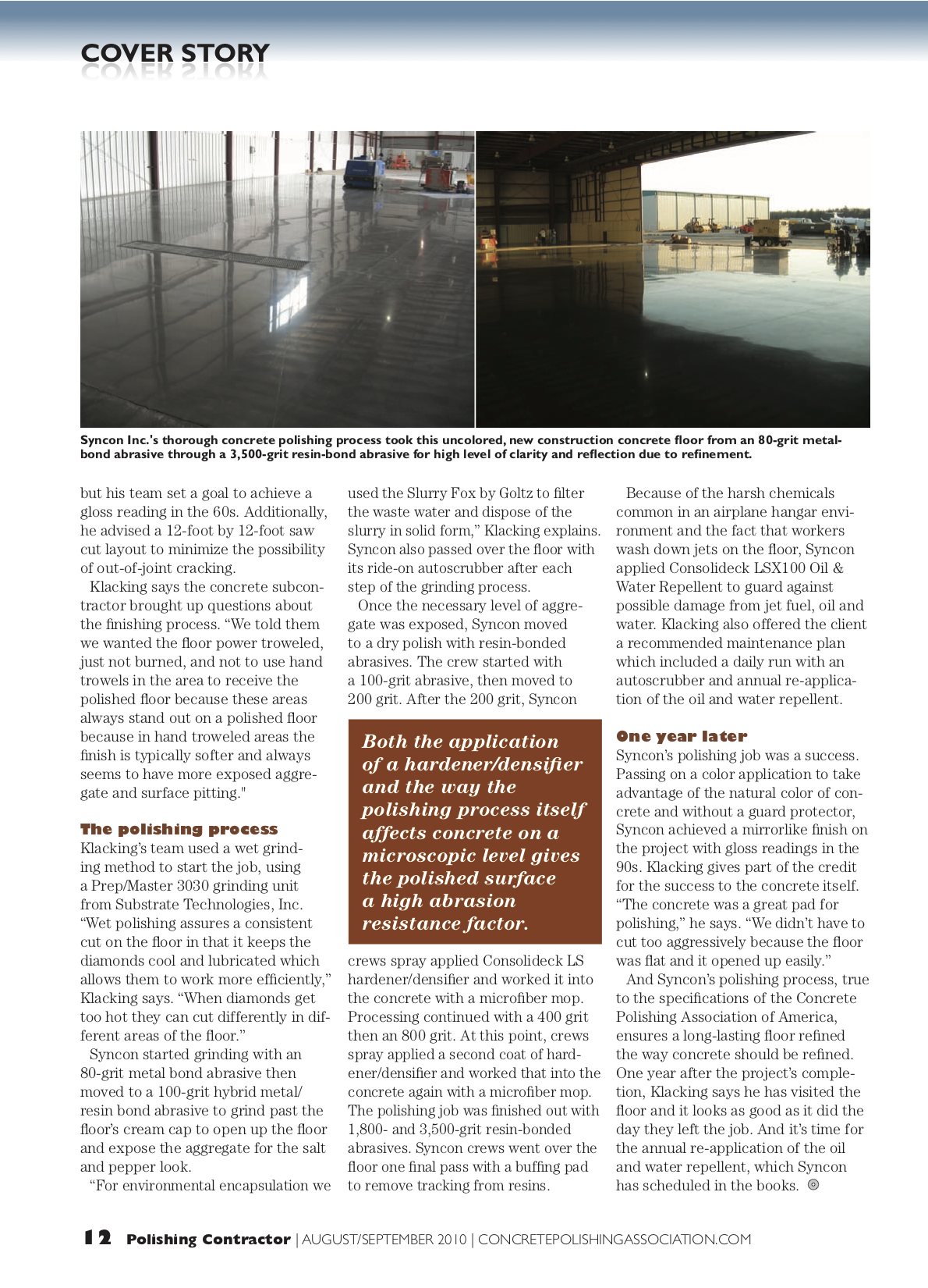 Syncon Featured in Polishing Contractor Magazine Premier Addition4